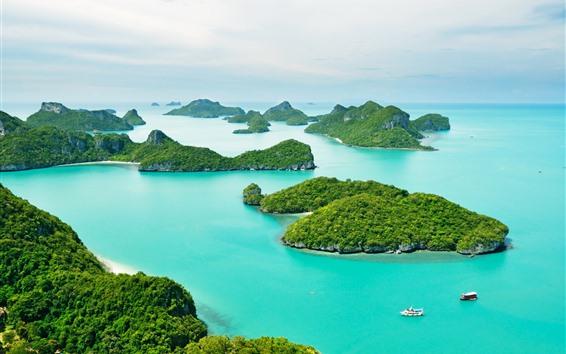 배경 화면 태국, 푸켓, 푸른 바다, 보트, 섬