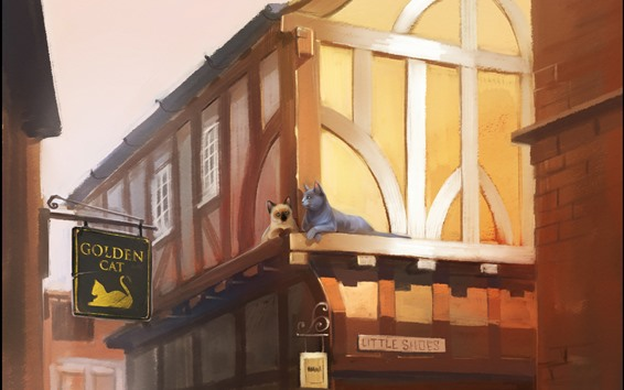 Wallpaper Two cats, houses, city, art painting