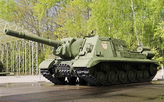 Papéis de Parede Arma, tanque, árvores, verde