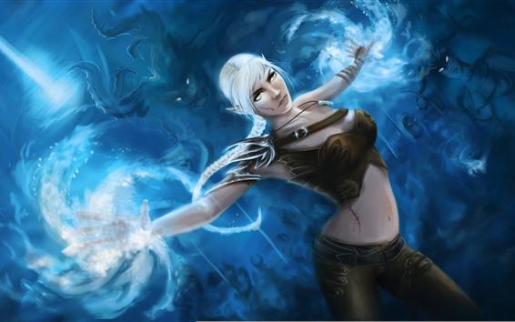 Wallpaper White hair fantasy girl, magic, art picture