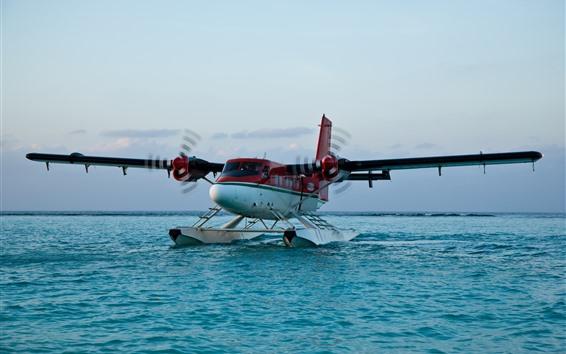 Wallpaper Airplane landing on water