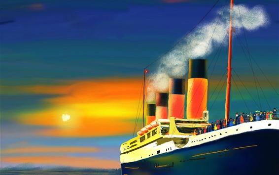 Hintergrundbilder Kunstmalerei, Schiff, Rauch, Passagiere, Meer, Sonne