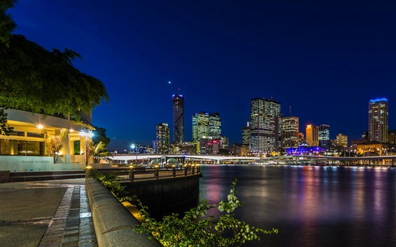 Papéis de Parede Austrália, noite, ponte, luzes, rio, arranha-céus