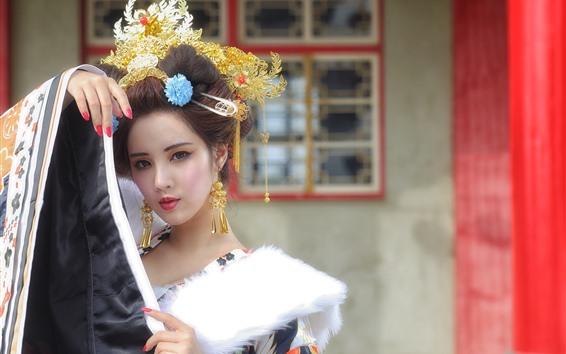 Wallpaper Beautiful Chinese girl, retro style, decoration