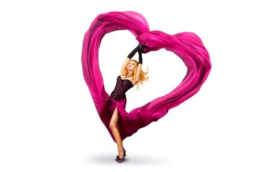Wallpaper Blonde girl, pink love heart, skirt, white background