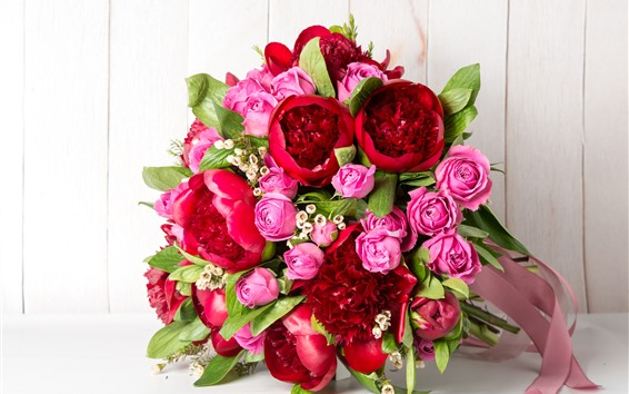 Wallpaper Bouquet, flowers, pink roses, red peonies