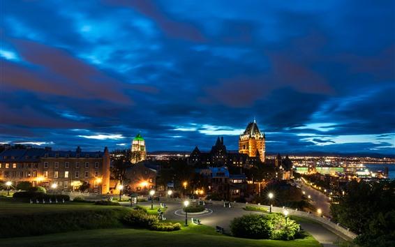 Fond d'écran Canada, Québec, Nuit, Ville, Maisons, Lumières, Parc