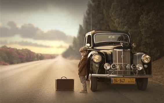 Wallpaper Car, boy, child, suitcase, road
