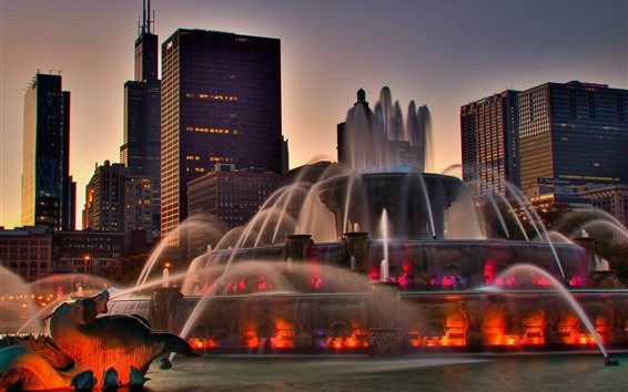 Wallpaper Chicago, fountain, buildings, dusk, city, USA