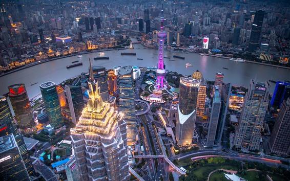 Fond d'écran Chine, Shanghai, gratte-ciel, soirée, ville, rivière, lumières