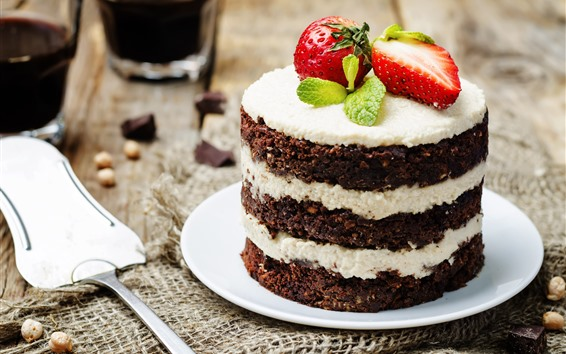 Wallpaper Chocolate cake, strawberry, dessert