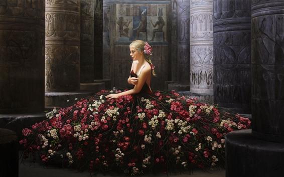 Обои Творческий дизайн, блондинка, цветы юбка