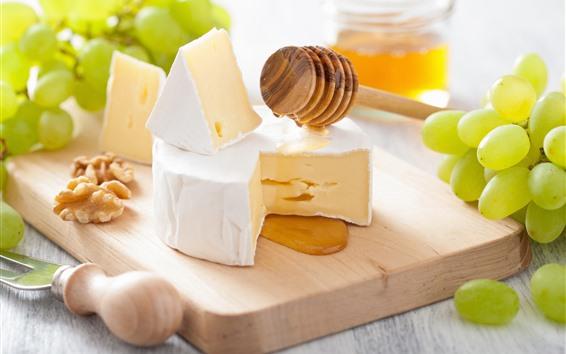 배경 화면 맛있는 음식, 포도, 치즈, 꿀