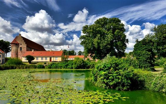Papéis de Parede Dinamarca, Nyborg, árvores, lentilha d'água, castelo, verde, lagoa