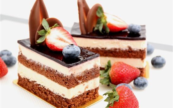 Wallpaper Dessert, cake, strawberry, blueberry, sweet food