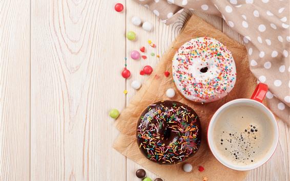 Fondos de pantalla Donut y café, decoración colorida.