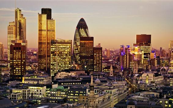 Fond d'écran Angleterre, Londres, lumières, gratte-ciel, soirée, ville