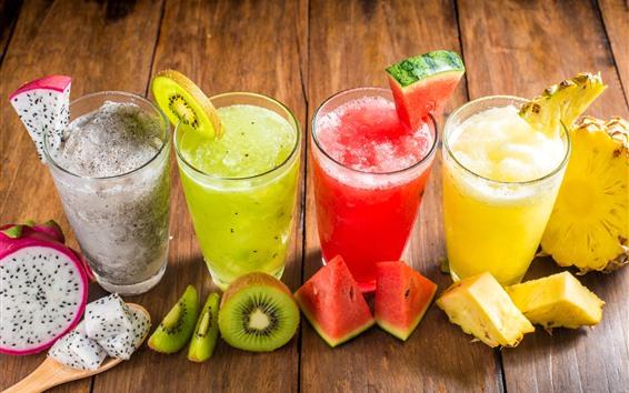 壁紙 4杯のスムージー、ジュース、スイカ、キウイ、パイナップル