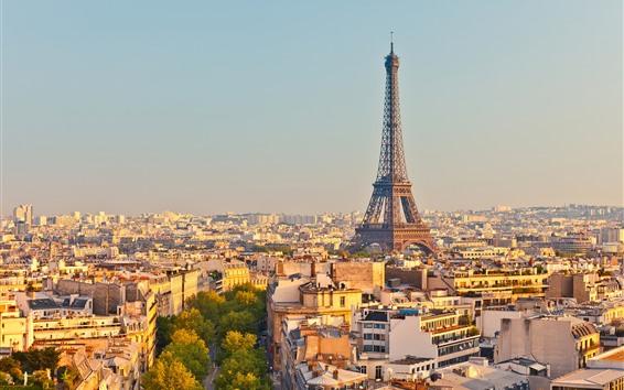 Fondos de pantalla Francia, París, Torre Eiffel, Ciudad, Casas, Árboles, Carretera