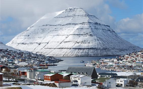 Papéis de Parede Friscia, Klaksvik, ilhas, montanha, neve, casas, barcos, porto