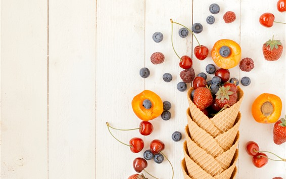 Wallpaper Fruits, berries, wafer, cherry, blueberry, strawberry