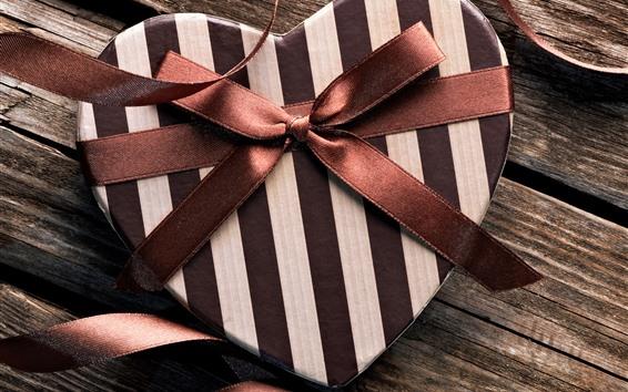 壁紙 ギフト、愛の心、茶色のリボン