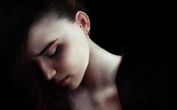 Wallpaper Girl, face, black background, art picture