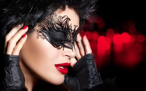 壁紙 女の子、マスク、顔、赤い唇、手