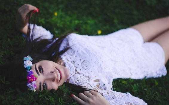 Wallpaper Happy girl, white skirt, wreath, grass