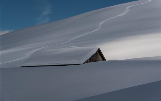 Hintergrundbilder Schwerer Schnee, Dach, Haus, Winter
