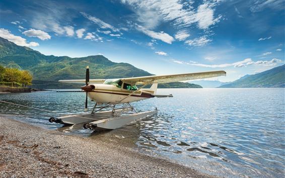 Wallpaper Hydroplane, plane, wings, lake, lakeshore, mountains