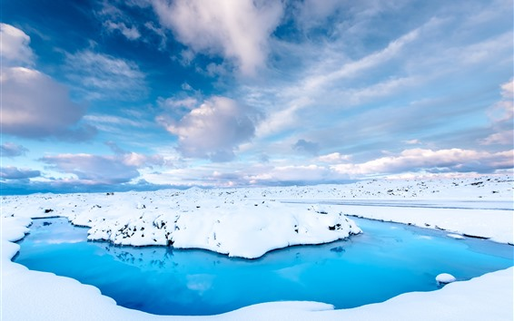 Wallpaper Iceland, snow, blue water, sky, white clouds