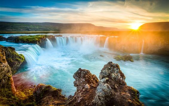 Papéis de Parede Islândia, cachoeiras, pedras, nascer do sol, amanhecer