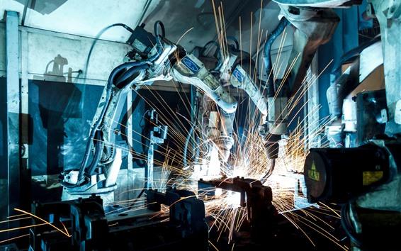 Fondos de pantalla Robot industrial, máquina, precisión, chispas, soldador.