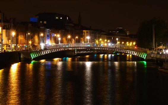 Wallpaper Ireland, Dublin, promenade, river, bridge, night, lights