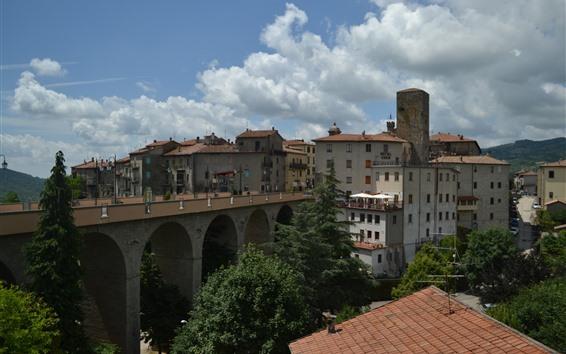 Papéis de Parede Itália, Toscana, Ponte, Casas, Árvores, Vila