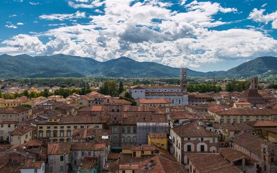 Fond d'écran Italie, Toscane, ville, maisons, montagnes, ciel, nuages