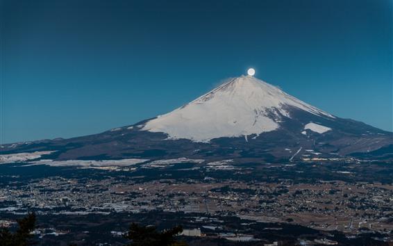 Fond d'écran Japon, Montagne Fuji, Lune, Volcano, Ville