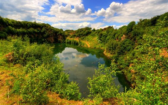 Papéis de Parede Lancashire, inglaterra, lago, arbustos, verde, nuvens