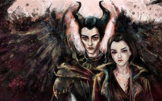 Fond d'écran Maléfique, sorcière, ailes, cornes, filles, peinture d'art