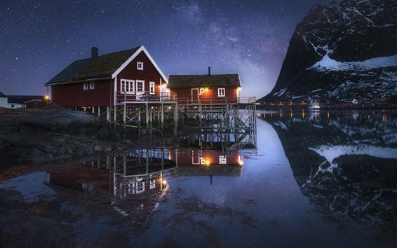 Fondos de pantalla Noruega, Nordland, Fiordo, Noche, Casas, Estrellas, Montaña, Mar, Nieve