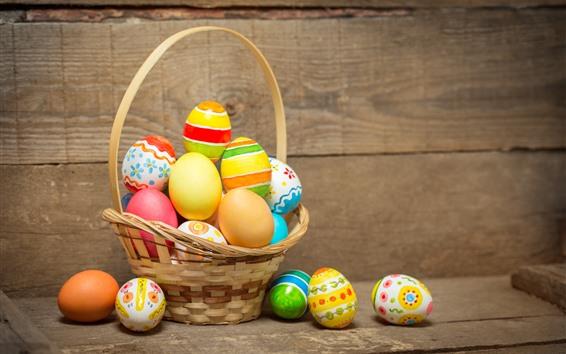Wallpaper One basket of Easter eggs, wood board