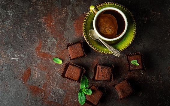 Papéis de Parede Um xícara de café, chocolate, colher, hortelã verde