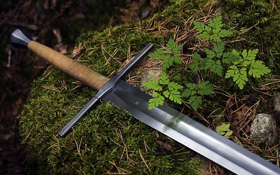壁紙 1つの刀、地面、草