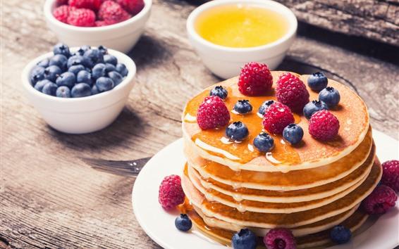 Wallpaper Pancakes, honey, blueberry, raspberry