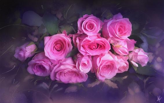 Wallpaper Pink roses, bouquet, texture