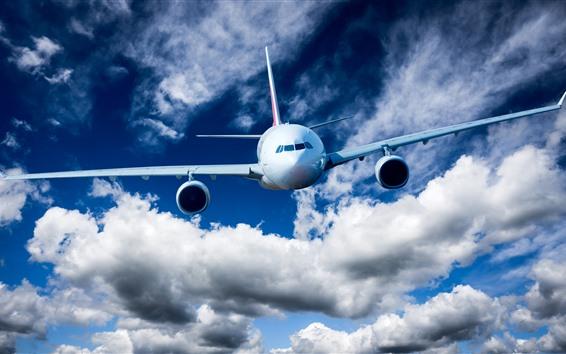 Wallpaper Plane flight, airplane, sky, clouds