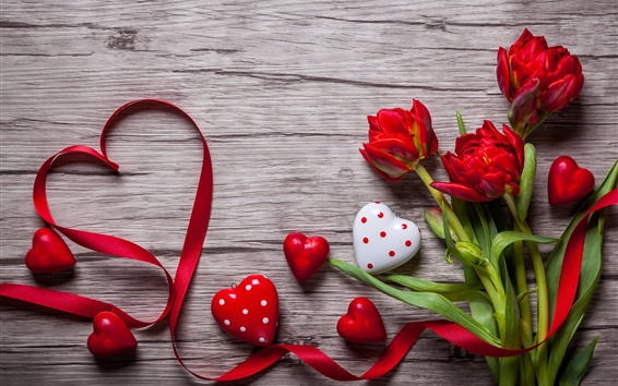 Wallpaper Red love heart and tulips, ribbon, romantic