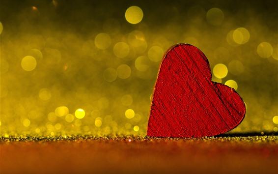Wallpaper Red love heart, light circles, hazy