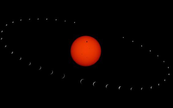 壁紙 赤い惑星、スペース、リング、黒の背景